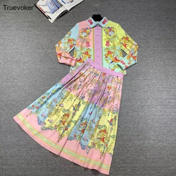 8103 Runway 2020 Baroque Print Shirt + Midi Skirt Rainbow Twinset