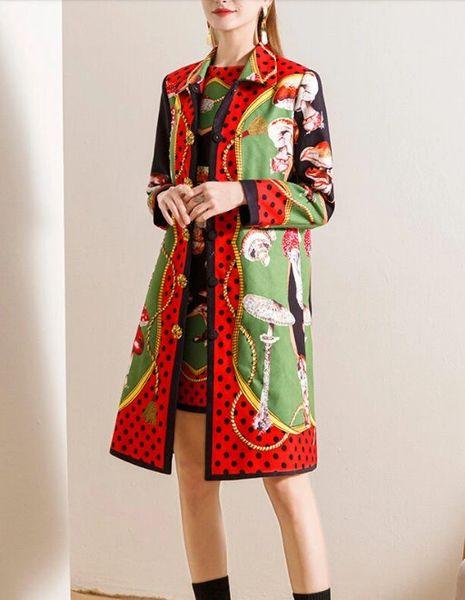 8105 Runway 2020 Twinset Of Trench Coat Mushroom Print+ Dress