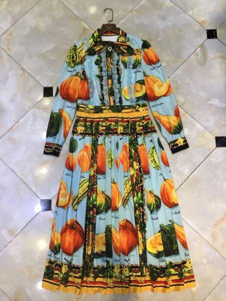 8106 Runway 2020 Pumpkin Print Midi Dress