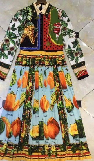 8107 Runway 2020 Pumpkin Grapes Print Midi Dress
