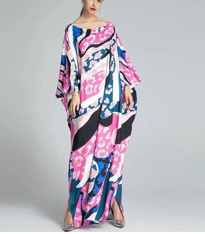 8110 Runway 2020 Kaftan Shape Free Abstract Print Dress