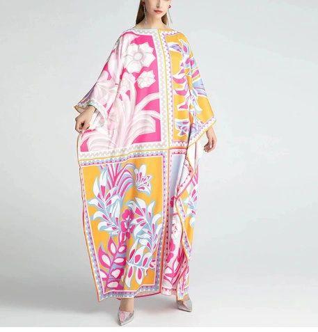 8111 Runway 2020 Kaftan Shape Free Abstract Pale Print Dress