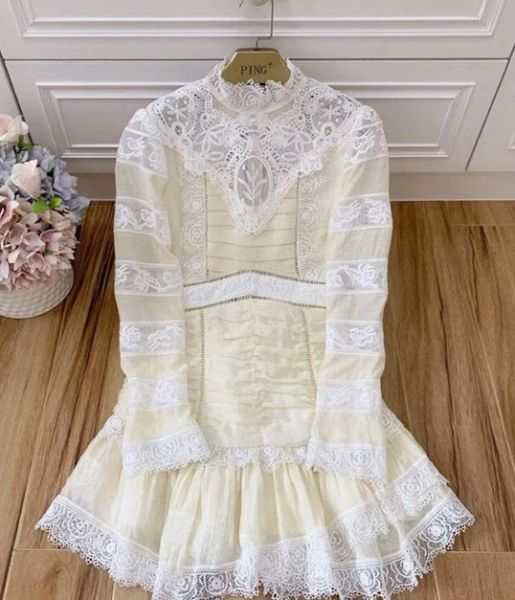 8113 High-End Runway 2020 Ruched Cotton Lace Nude Mini Dress