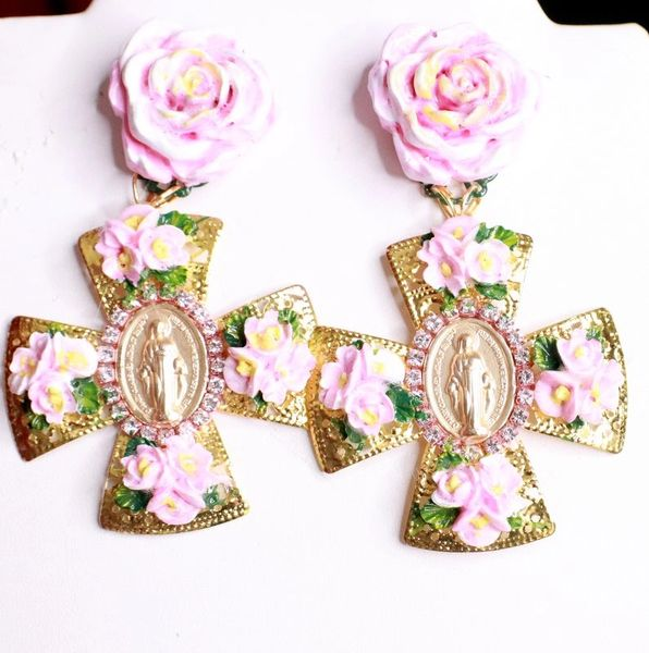 8115 Baroque Virgin Mary Coin Flowers Cross Earrings
