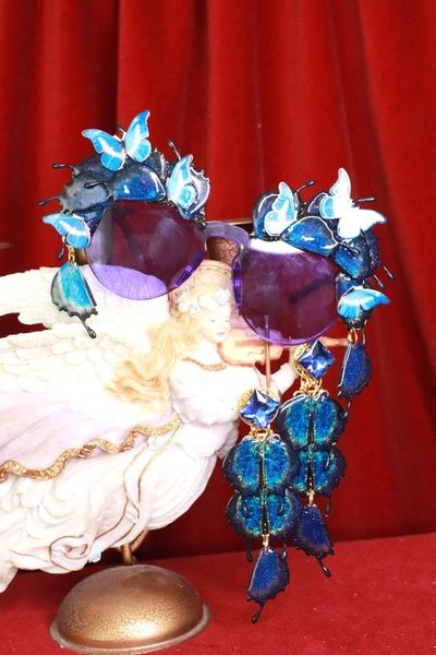 8116 Baroque Butterfly Winged Purple See Through Embellished Sunglasses