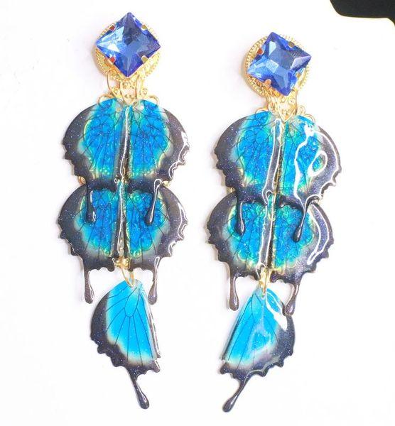 8117 Art Nouveau Vivid Butterfly Long Earrings