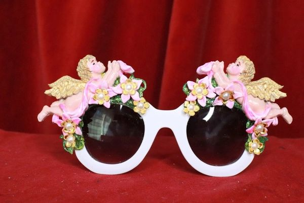 8118 Baroque Bright Hand Painted Faced Cherubs Angels Embellished Sunglasses