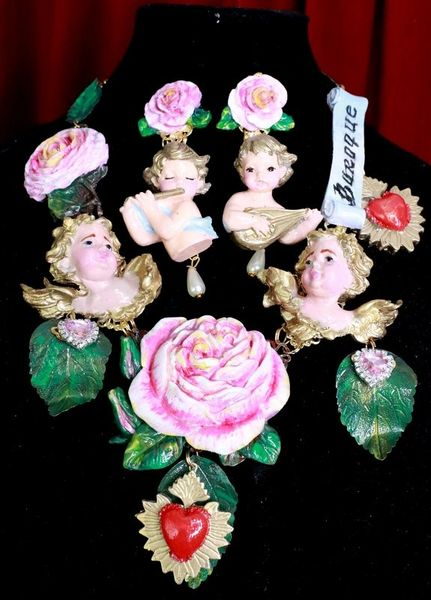 8120 Runway Banner Chubby Vivid Hand Painted Cherubs Roses Sacred Hearts Statement Necklace