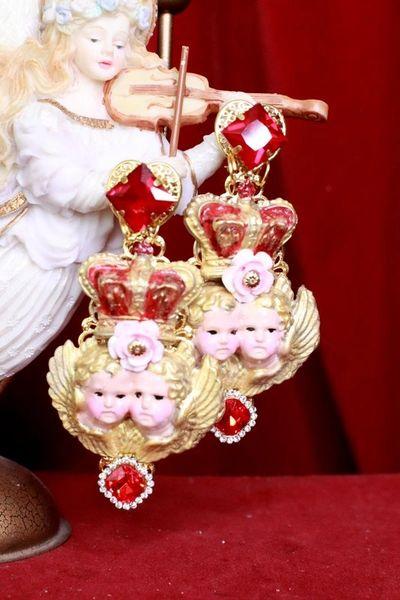 8121 Baroque Cherubs Angels Crown Long Earrings