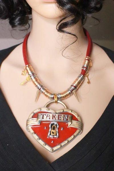 8124 Baroque Massive Metal TAKEN Heart Statement Necklace