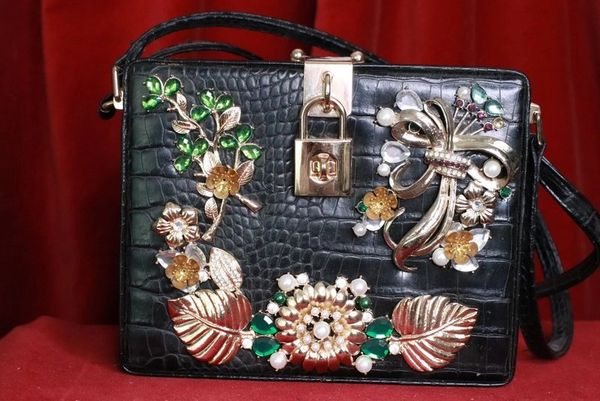 8127 Baroque Gold Embellished Flower Crocodile Leather Trunk Crossbody Handbag