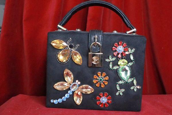 8128 Baroque Gold Embellished Flower Velvet Frog Trunk Crossbody Handbag