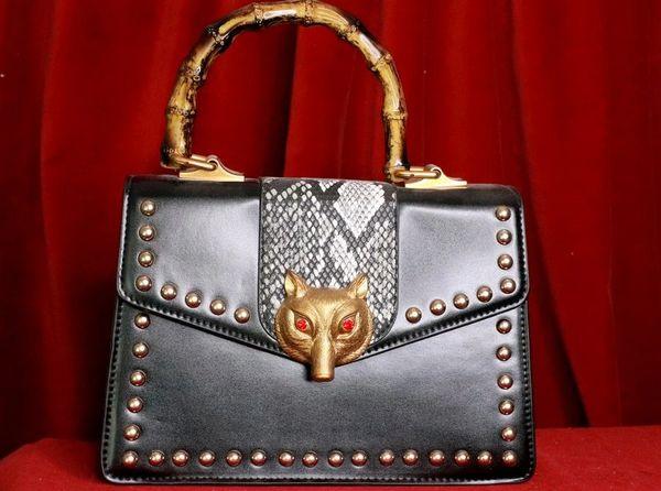 8130 Designer Snake Studded Fox Crossbody Handbag