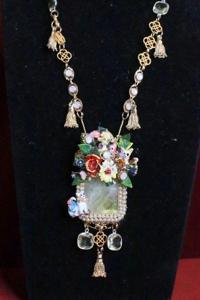 SOLD! 8133 Genuine Prehnite Citrine Opal Pearl Enamel Cats Dogs Massive Pendant Necklace