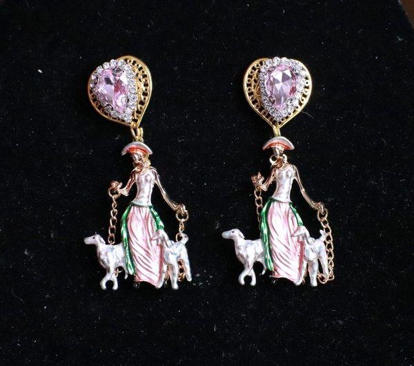 8134 Rococo Enamel Elegant Lady With Dogs Earrings