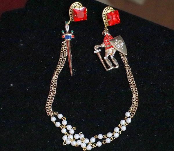 8135 Medieval Enamel Knight Sword Chained Irregular Earrings