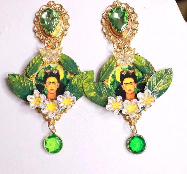 8139 Frida Kahlo Green Leaf Studs Earrings