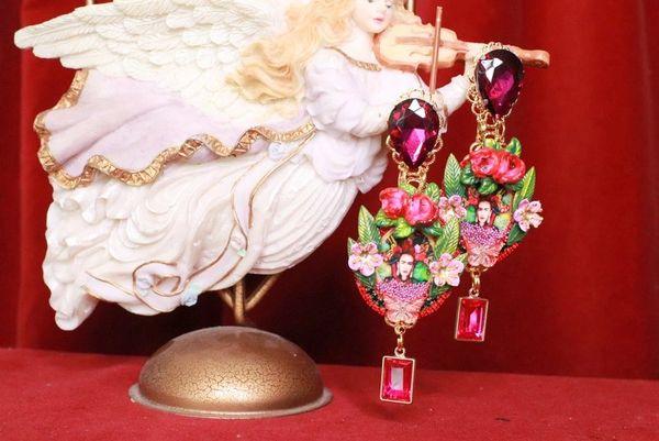 8141 Frida Kahlo Fuchsia Studs Earrings