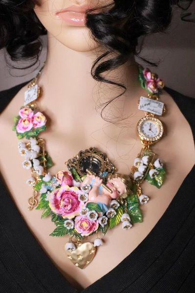 8142 Set Of Hand Painted Cherub Watch Fife Lily Of The Valley 3D Effect Statement Necklace+ Earrings