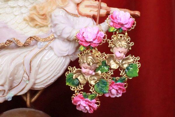 8143 Baroque Sleeping Cherubs Hand Painted Roses Earrings