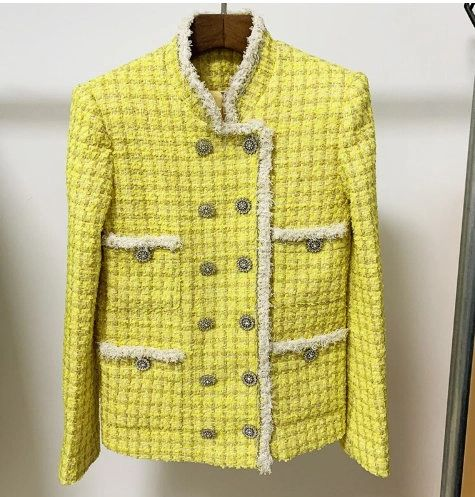 8146 Runway 2020 Coco Yellow Tweed Double Breasted Fit Blazer