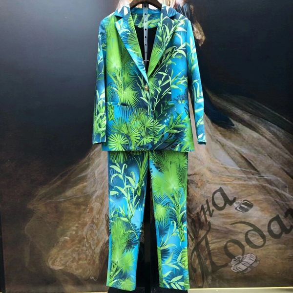 8149 Runway 2020 Twinset Of Tropical Print Blazer+ Pants Twinset