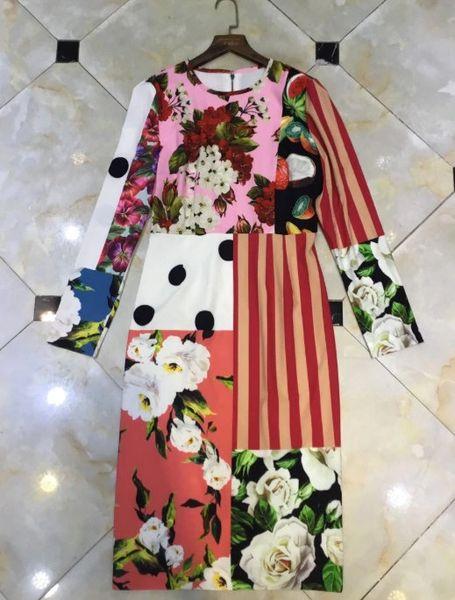 8150 Runway 2021 Designer Patchwork Lady Like Midi Dress