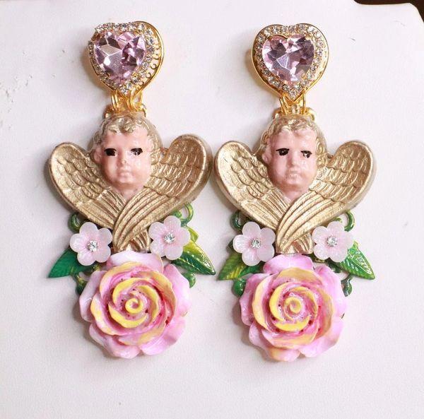 8155 Baroque Sleeping Winged Cherubs Hand Painted Roses Earrings
