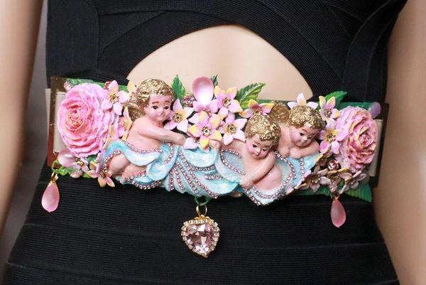 8156 Baroque Vintage Hand Painted Cherubs Angels Embellished Waist Gold Belt Size S, L, M