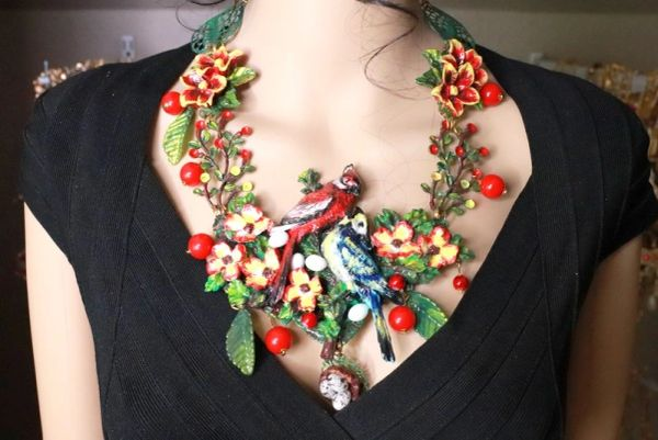 8158 Set Of Hand Painted 3D Effect Art Jewelry Birds Blue Jay Cardinal Necklace+ Earrings