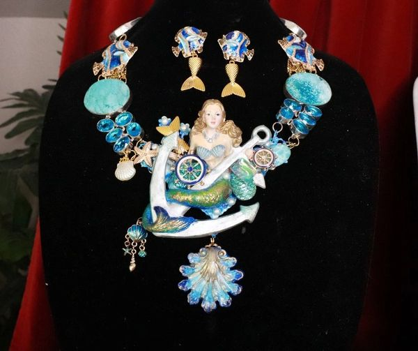 SOLD! 8159 Set Of Nautical Mermaid Genuine Chrysocolla Topaz Necklace+ Earrings