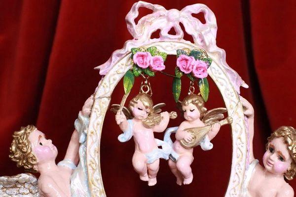 8160 Musical Baroque Hand Painted Vivid Blue Cherubs Earrings Studs