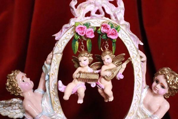 8161 Musical Baroque Hand Painted Vivid Pink Cherubs Earrings Studs