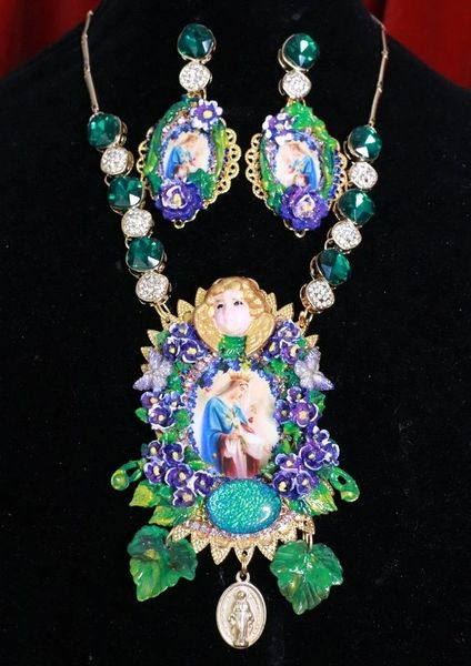 8163 Set Of Virgin Mary Purple Flowers Cherub Necklace+ Earrings