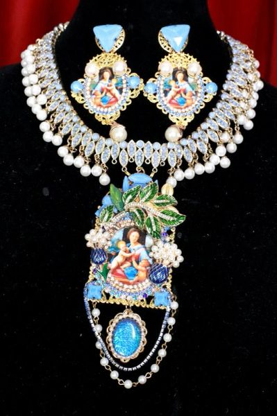 8164 Set Of Raphael Madonna And A Child Choker Necklace+ Earrings