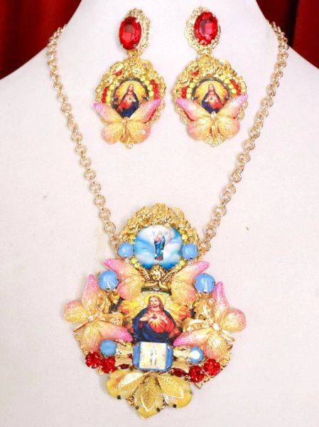 8165 Set Of Jesus Lord Butterfly Pendant Necklace+ Earrings