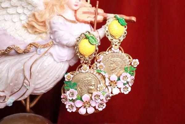 8170 Baroque Runway Lemon Flower Blossom Roman Coin Studs Earrings