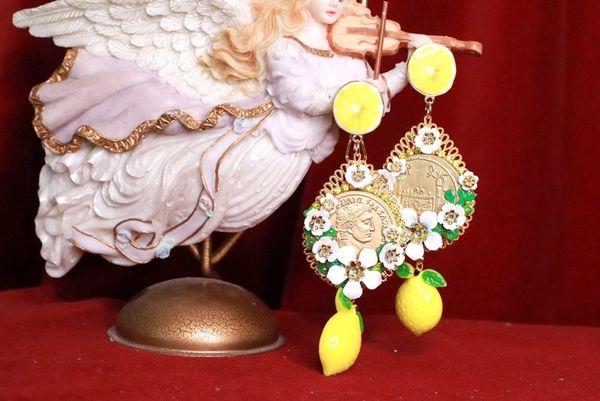 8171 Baroque Runway Lemon Flower Blossom Roman Coin Long Studs Earrings