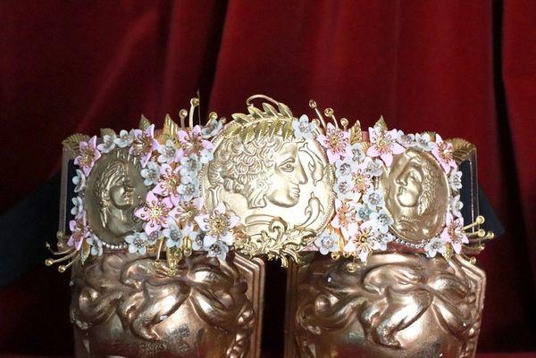 SOLD! 8172 Baroque Runway Roman Coin Flower Blossom Corset Waist Belt Size S, L, M
