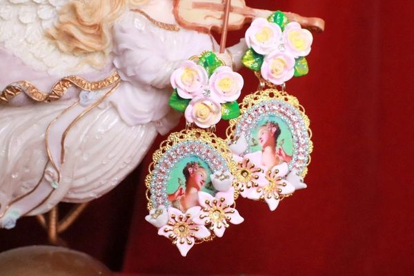 8175 Young Marie Antoinette Aqua Bird Roses Cameo Elegant Earrings