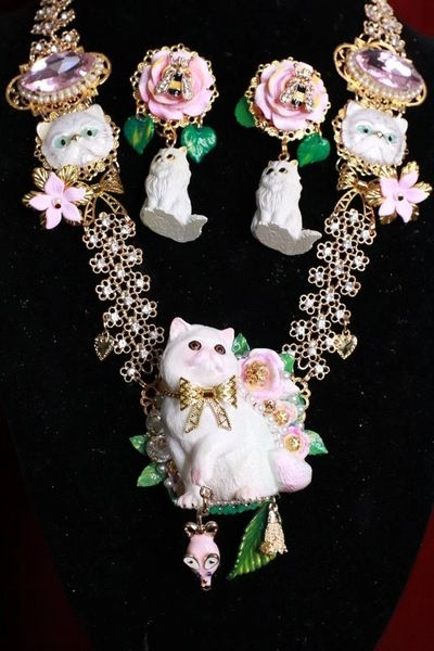 8176 Art Jewelry Vivid Lady-cat Mouse Hand Painted Necklace
