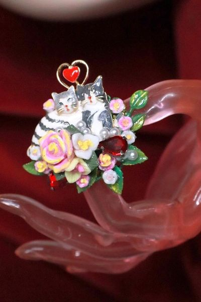 8178 Baroque Art Jewelry Cats Love Cocktail Adjustable Ring