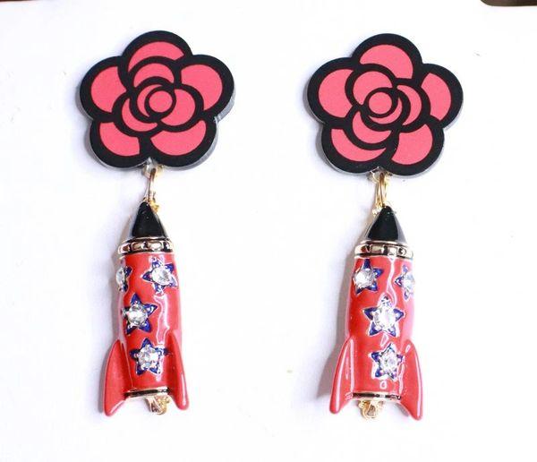 8181 Madame Coco Camellia Enamel Rocket Studs Earrings