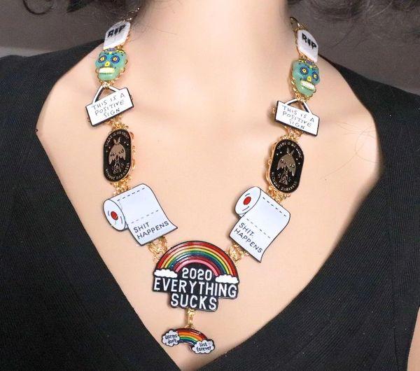 8182 Set Of Enamel Everything Sucks 2020 Unusual Necklace+ Earrings