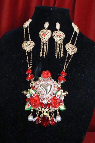 8183 Set Of Alta Moda Sacred Heart Roses Necklace+ Earrings