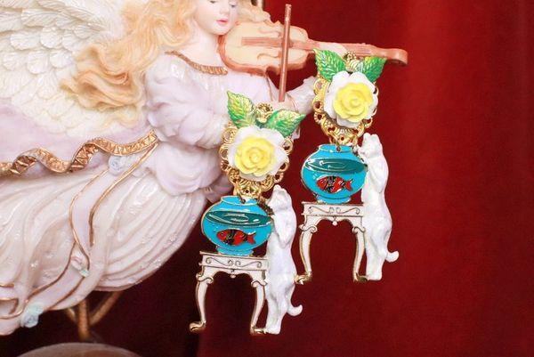 8184 Runway Baroque Cat Aquarium Roses Adorable Earrings