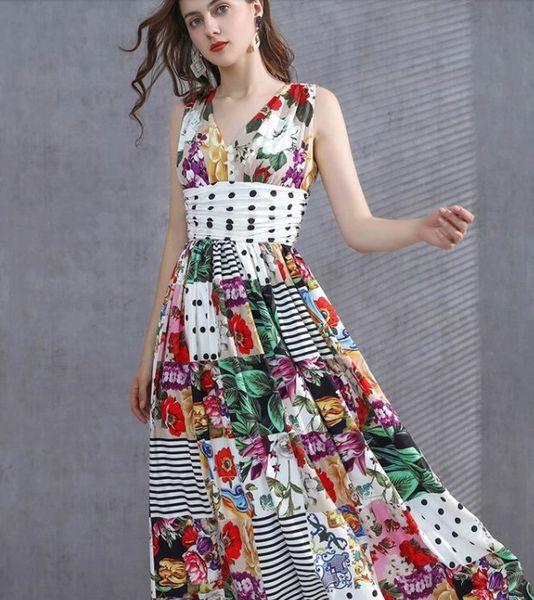 8185 Runway 2021 Designer Patchwork Polka Dot Maxi Dress