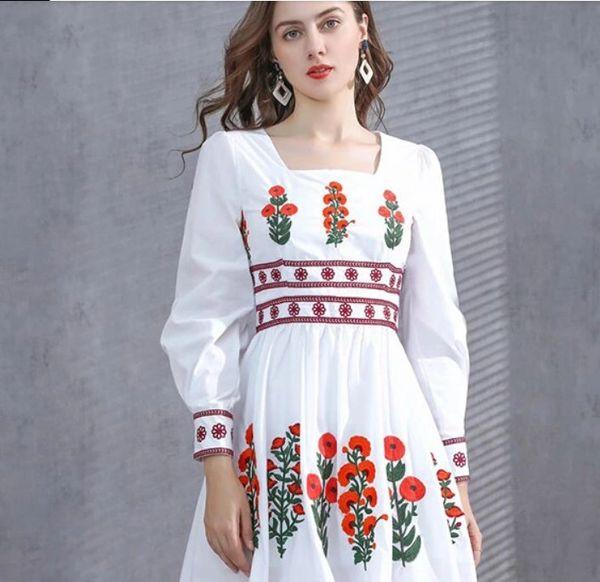 8186 Runway 2021 Designer Poppy Embroidery Mini Dress