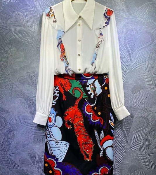 8189 Runway 2021 Twinset Of Blouse+ Midi Cartoon Print Skirt Twinset