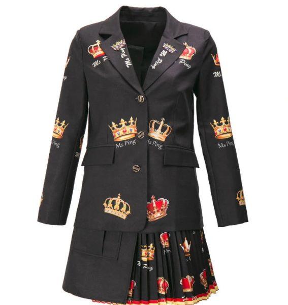 8193 Runway 2021 Twinset Of Crown Print Blazer+ Pleated Mini Skirt Twinset